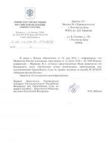 Уполномоченный Российской Федерации при Европейском Суде по правам человека - заместитель Министра юстиции Российской Федерации